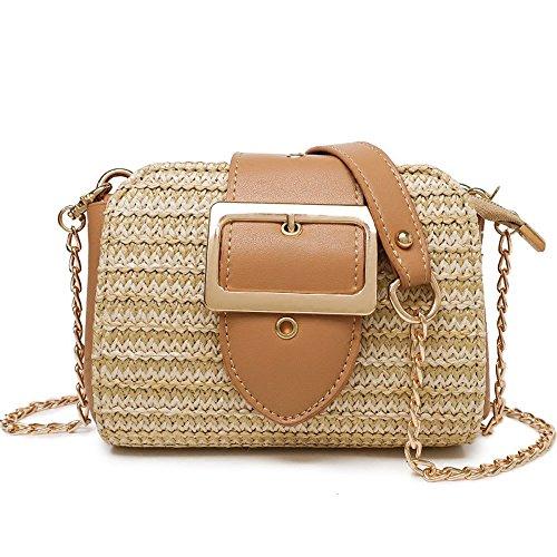 Preisvergleich Produktbild GAOQQ Sommer Mini Bag Beach Holiday Strohsack Kettenschloss Einzelner Schultertasche