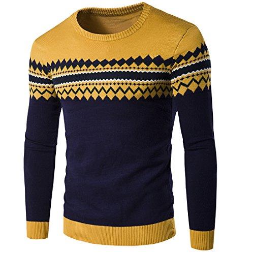 Sunshey weich Herren Slim-fit Strickpullover Norweger Pullover Rundhalskragen modisch Optik mit Bündchen aus Baumwolle für Herbst Winter, Gelb, Gr. XL