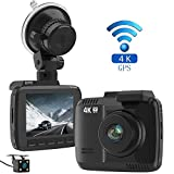 laydran Dual Objektiv 4K Dash Cam Auto DVR Dashboard Kamera Recorder mit hinten Kamera, integriertes WiFi & GPS, G-Sensor, 6,1cm LCD, 150Grad Weitwinkel-Objektiv, Loop Aufnahme, große Night Vision