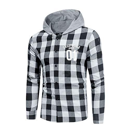 Oliviavan,Herren Hemden Slim Pliad Sommer Casual Langarm T-Shirt mit Kapuze beiläufige Bluse Mode Blusen Streetwear Sportlich Kleidung Freizeithemd Retro Bequem Tops