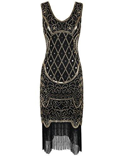 kayamiya Damen 1920er 20er Art Deco Inspiriert Flapper Großes Gatsby Franse Kleid XL Gold