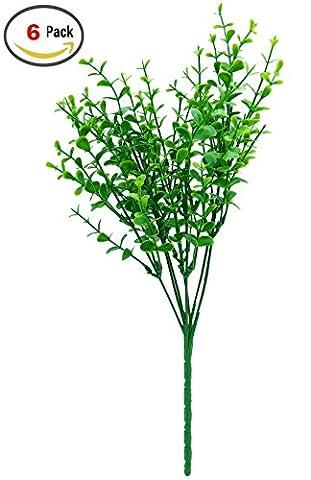 SFTlite 6 Bündel Künstliche Pflanzen Eucalyptus Leaves – Grün Künstliche Pflanzen Kunststoff Stäucher Kunststoff Pflanzen Eukalyptus für Küche Garten Badezimmer und Fensterbank Ornament