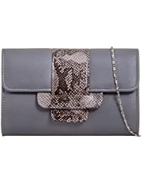 a1f6484571d8 HAUTE FOR DIVA S NEW WOMEN S LADIES SNAKESKIN DETAIL FAUX LEATHER CHAIN  STRAP PARTY PROM CLUTCH HANDBAG