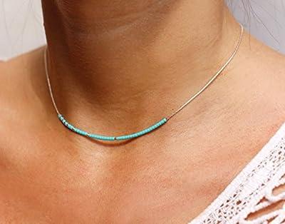 Collier fin choker turquoise - chaine serpent argent massif 925 - Collier pierres, perles turquoise naturel - collier minimaliste discret - bijoux été