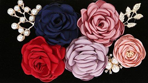 AnKoee Sac à Main Décoré de Fleurs Sac à Main de Banquet Pour Dames Sac à Main de Mariage (Blu) Nero