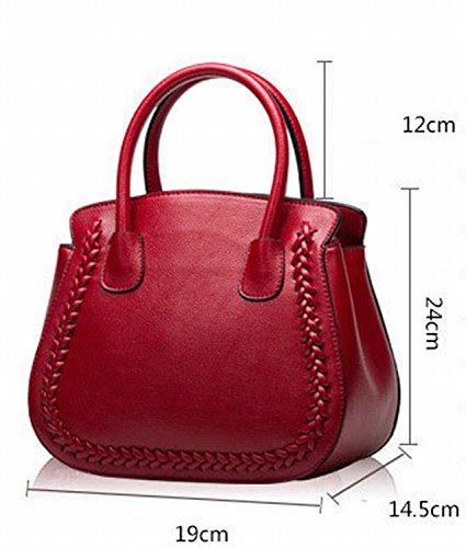Art Und Weise Litchi Muster Rindleder Platin Tasche Handtasche Schulter Diagonale Weibliche Paket Schwarz