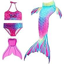 87a0358b4 Modaka Traje de Baño de la Cola de la Sirena para Las Muchachas 4PCS fijado  para