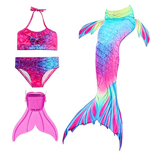 oflosse Badebekleidung Mädchen Meerjungfrau für Girls 4 Stück Set zum Schwimmen(bunt 120cm (Meerjungfrau Kostüme Kid)