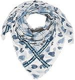 styleBREAKER Foulard carré léger avec message en liseré, étoile et losanges, pois, mélange de rayures et franges, châle, écharpe, femmes 01016170, couleur:Bleu-blanc