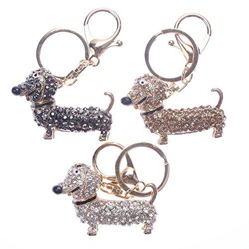 NUOMI 3Stück Fashion Hund Dackel Schlüsselanhänger Tasche Charm Anhänger Schlüssel Halter Schlüsselanhänger Schmuck Dekoration