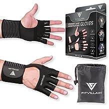 FITVILLAIN Guantes modernos de entrenamiento - 2 en 1 Guantes transpirables protectoras de palmas con muñequera - Para gimnasio, levantamiento de pesas, fitness, culturismo, crossfit, calistenia