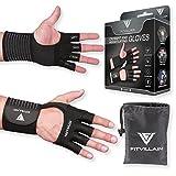 FITVILLAIN Workout Handschuhe für Crossfit und Gewichtheben - 2-in-1, Handflächen-Schutz und Handgelenkbandage - Geeignet für das Fitness-Studio, extreme WODs, OCR, Fitness - Stilvolle, gut aussehende und funktionale Trainingshandschuhe für Männer und Frauen. Gesunde Hände = längere Workouts (Schwarz, XL)