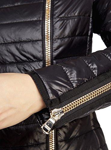 oodji Ultra Damen Steppjacke mit Asymmetrischem Reißverschluss Schwarz (2900N)
