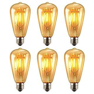 Edison LED Bulb - AntEuro 6 Pack E27 ST64 Vintage Edison Light Bulb Lighting Warm White 2700K (6 pack)
