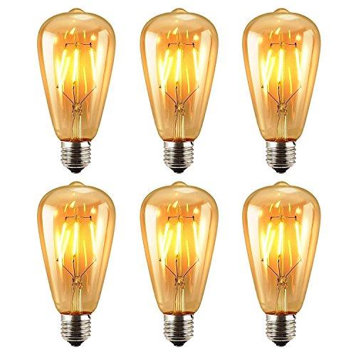 6 Packung Vintage Beleuchtung, EONANT LED Birnen mit 6W ST64 Vintage Edison Birne Beleuchtung Warm White 2700K Leuchtstofflampe (6) (Dekorative Beleuchtung Mit Leuchtstofflampen)