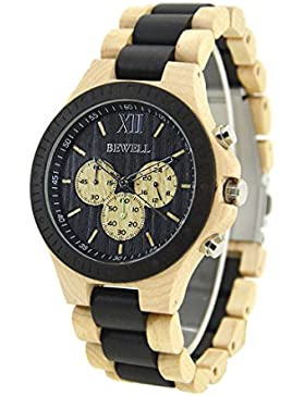 Bewell W116A Herrenuhr Casual Hölzerne Uhren Multifunktionale Quartz Armbanduhr Sport-Chronograph-Funktion (Beige...