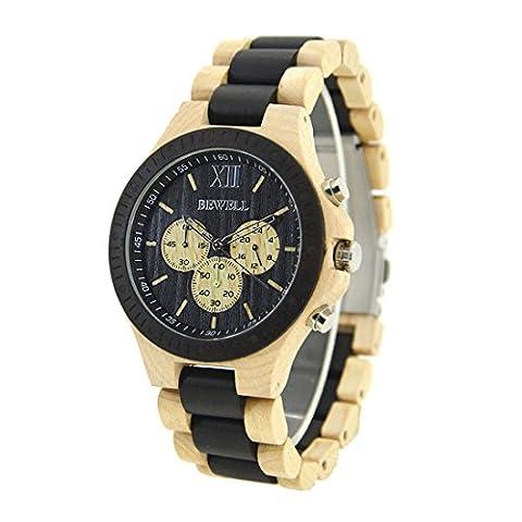 Bewell W116A Herrenuhr Casual Hölzerne Uhren Multifunktionale Quartz Armbanduhr Sport-Chronograph-Funktion (Beige & (Chronograph Metal-band)