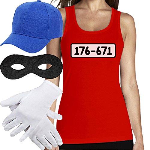Shirtgeil Panzerknacker Banditen Bande Kostüm TOP + MÜTZE + Maske + Handschuhe Frauen Tank Top Small Rot (Top 100 Kostüm)