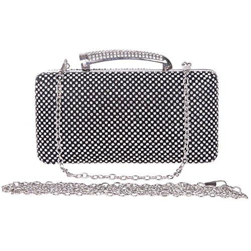 Santimon Donna Pochette Borsa Rettangolo Con Maniglia Diamante Cristallo Festa di Nozze Sera Borse Con Tracolla Amovibile 3 Colori Nero