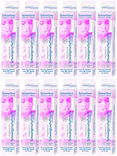 Pregnafix Schwangerschafts-Schnelltest, mit sicherem Ergebnis in nur einer Minute, 12er Pack (12 x 1 Stück)
