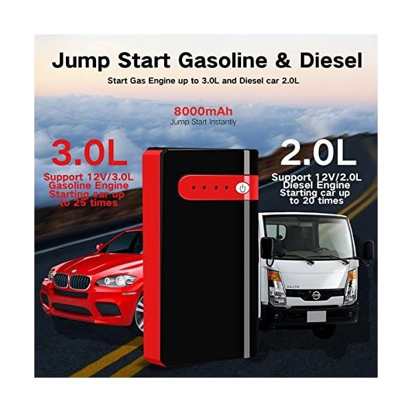 Arrancador de Coche Portatil 10000mAh 500A Jump Starter Power Bank Arrancador de Moto Arranque para 12V 2.5L Gasolina…