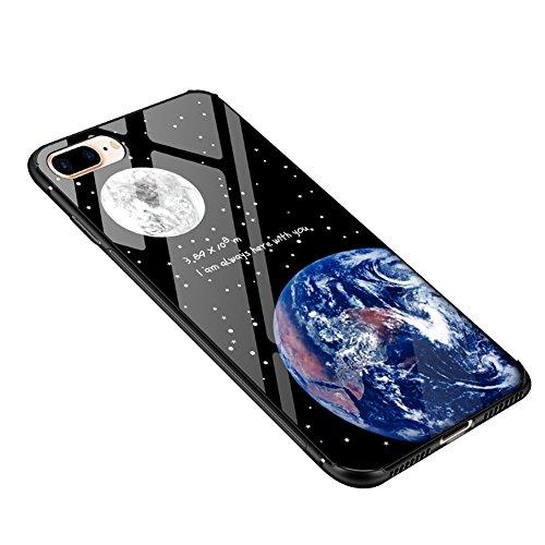 iPhone 7 Plus Hülle Coole, iPhone 8 Plus handyhülle Schwarz, Glossy Earth & Moon Muster Shock Absorption Dünn 2 in 1 (Glas Hülle + Weiche TPU Bumper) Slim Case für iPhone 7 Plus/iPhone 8 Plus 5,5