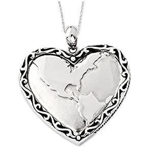 Black Bow Jewellery Company : You Mean The World To Me Sterling Silver Heart Necklace