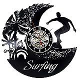 XIAODIANER Surfen Sommer Strand Zeit Silhouette Wanduhr Welle Dekor Kunst Wassersport Surfen Vinyl Rekord Wanduhr
