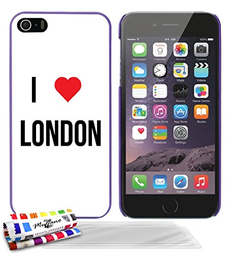 Ultraflache weiche Schutzhülle APPLE IPHONE 5S / IPHONE SE [I LOVE LONDON] [Lila] von MUZZANO + 3 Display-Schutzfolien UltraClear + STIFT und MICROFASERTUCH MUZZANO® GRATIS - Das ULTIMATIVE, ELEGANTE  Lila + 3 Displayschutzfolien
