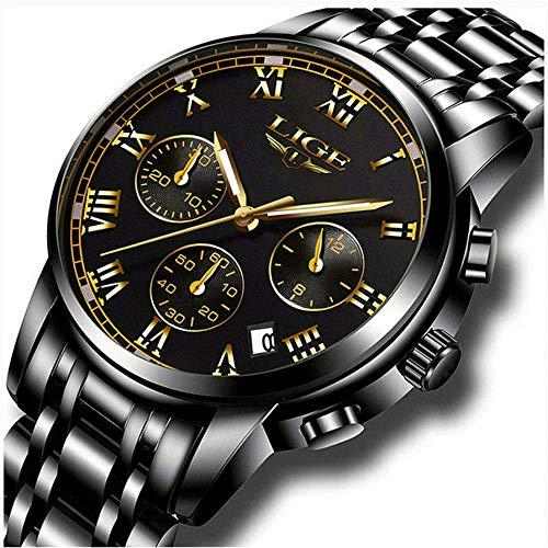 Uhren Herren wasserdichte Edelstahl Chronograph Sport Analog Quarzuhr Männer LIGE Luxusmarke Mode Runde Armbanduhr Mann Gold Schwarz Uhr ...
