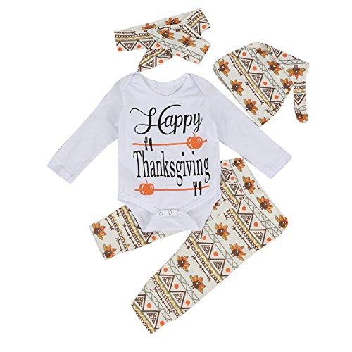Neugeborene Baby Kleidung Thanksgiving Langarm Spielanzug Hose mit Hut Strampler Outfit Set (0-6 Monate, Weiß+Floral)
