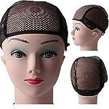 Pixnor Perruque de cheveux tissage extensible Net maille résille Snood élastique Cap Black