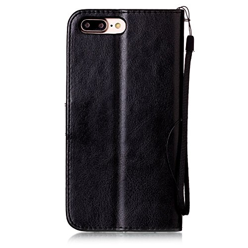 Custodia iPhone 7 Plus/iPhone 8 Plus (5.5), EUWLY Protettiva Cover Case in PU Pelle per [iPhone 7 Plus/iPhone 8 Plus (5.5)], Premium Pelle PU Custodia Caso Retro PU Leather Custodia Cover Goffratura Nero