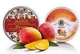 Saules Fabrika Kosmetik Geschenk-Set Körper-Peeling + Creme, (Body-Scrub + BodyYoghurt), mit reichen Ölen, 100% Vegan, Bio, Handmade, mit Zucker (Mango)