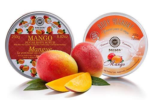 Saules Fabrika Kosmetik Geschenk-Set Körper-Peeling + Creme, (Body-Scrub + BodyYoghurt), mit reichen Ölen, 100% Vegan, Bio, Handmade, mit Zucker (Mango) -