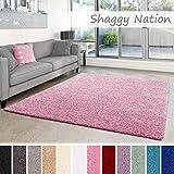 Shaggy-Teppich | Flauschiger Hochflor für Wohnzimmer, Schlafzimmer, Kinderzimmer oder Flur Läufer | einfarbig, schadstoffgeprüft, allergikergeeignet | Rosa - 140 x 200 cm