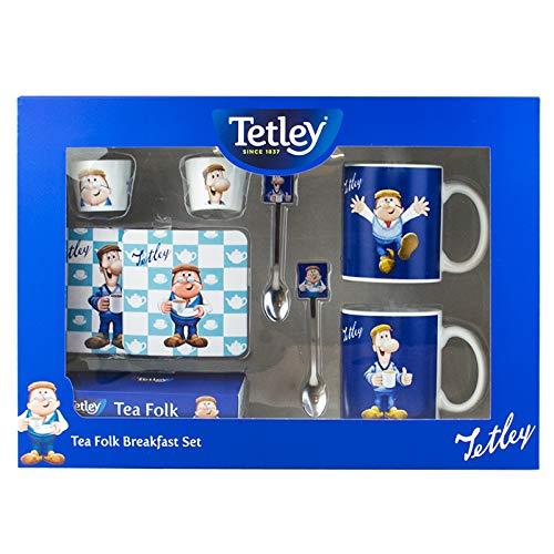 Tetley Tea Folk Deluxe Breakfast Mug Cups Spoon Coasters Tea Bags Gift Set