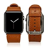 #3: Jisoncase 42MM Apple Watch Band Genuine Lambskin Leather iWatch Replacement Watchbands with Classic Buckle for Apple Watch Sport Edition, Brown (For 42MM Version) TC-AW4-18L20