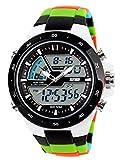 Doppi movimenti Doppi Display Orologio per Uomo Ragazzi Rotonda Orologio da Polso con Cronometro Allarme Cronografo Luce e Calendario - Modello 4