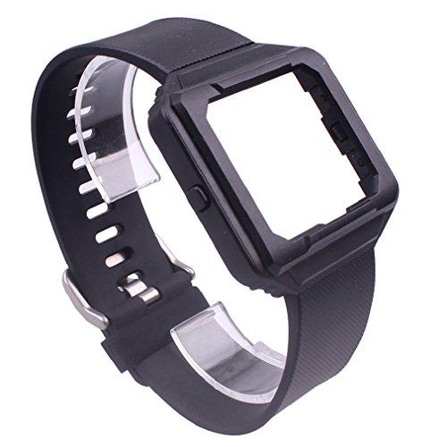 Preisvergleich Produktbild Tonsee Smart Uhr Frame Gehäusedeckel Silikonhülle + Band Gurt für Fitbit Blaze (schwarz)