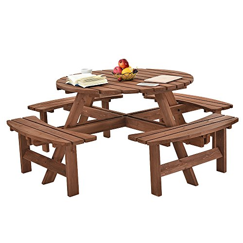 Panana-B 8 Seater Round Wooden Picnic Table and Bench Set Furniture for Garden Patio Pub