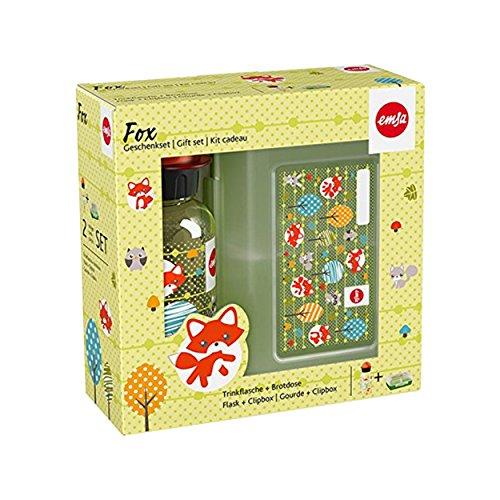 Emsa Kids Set Trinkflasche + Brotdose, Motiv: Fuchs, Plastik, Mehrfarbig, 28 x 28 x 18 cm