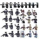 FutureShapers 34pcs Mini Figures Set SWAT Team Police Minifigures Set Building Blocks for Kids