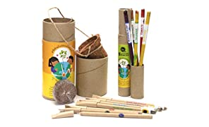bioQ Eco Friendly Mini Grow Kit | Includes : Mini Coco pot & Coco Peat, 4 Seed Pens (different ink colors) + 3 Paper Pens (red-blue-black ink) & 1 Box of 5 Seed Pencils | Gift Set That Helps Grow Plants From Pen & Pencils