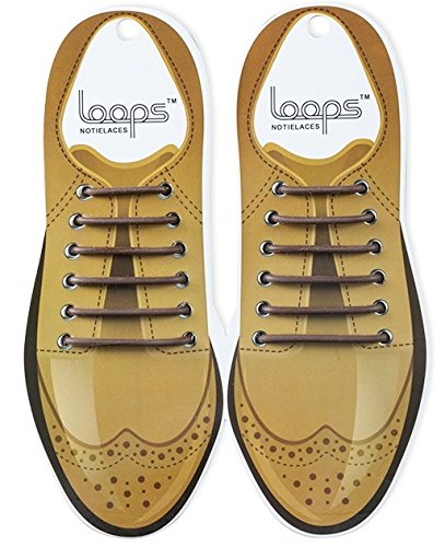 Loops Formal No Tie Laces, Elastic Slip on Shoelaces for Ultra Comfort and Confidence, Patented Anchor Type, Perfect for Oxfords, Brogues, Formal Office Shoes, Black and Brown, For Men and Women
