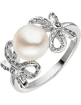 JOBO Damen Ring Schleife 925 Silber 1 Süßwasser Perle mit Zirkonia Perlenring