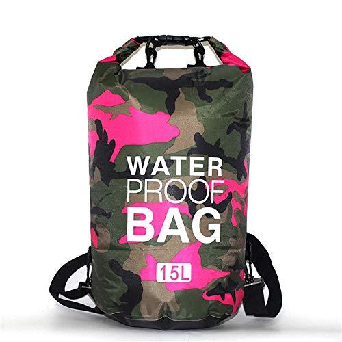 OSAYES 2/5 / 10 / 15l Camuflaje Impermeable al Aire Libre de Bolsas secas Portable Rafting Submarinismo seco Bolsa Bolsa de PVC Bolsas para River Trekking Natacion