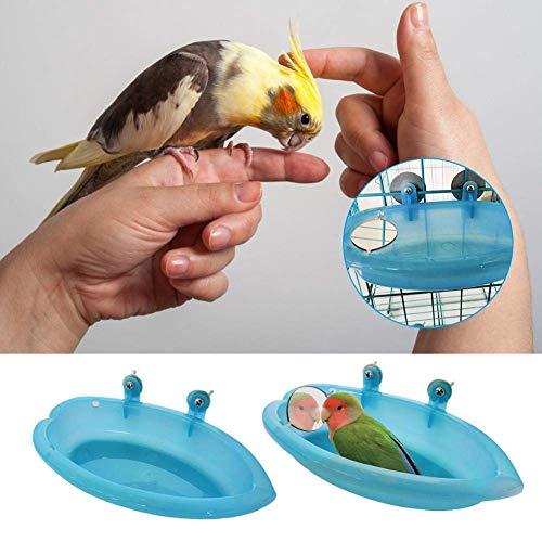 Hinter Vogeltränke mit Spiegel, Futterspender Pfingstrose, Waschbecken, Badewanne für Haustiere, Vögel, Vogeltränke, Vogelzubehör, Kunststoff - with Mirror -