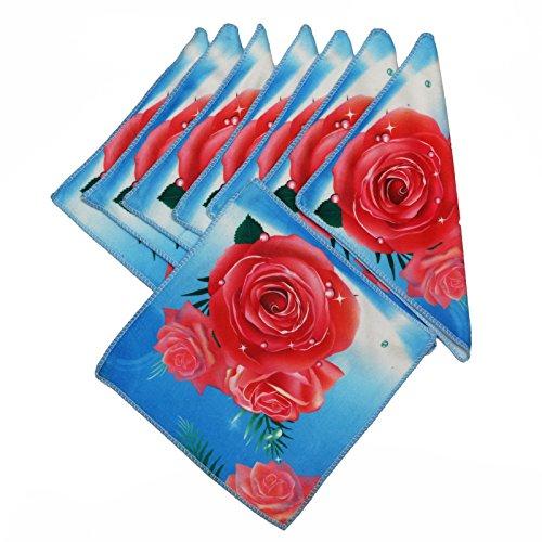 Lot de 8 moelleux microfibre Gant de toilette serviette essuie-mains, Manique Essuie-mains, lavable, microfibre, anti-taches roses rouges