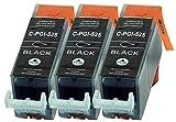 3 Druckerpatronen nur schwarz mit CHIP kompatibel für Canon PGI-525BK/PGI525BK